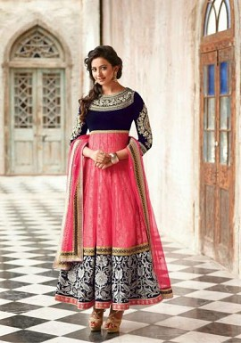 Ladli Pink & Blue Net Anarkali Suit@ Rs.864.00
