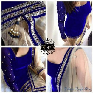 Ladli Blue Velvet Straight Suit @ Rs864.00