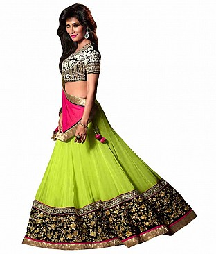 Resham Fabrics Buy Online At Best Price, Green Chitrangda Singh Georgette Lehnga Choli/rf-7902 @ Rs2802.00