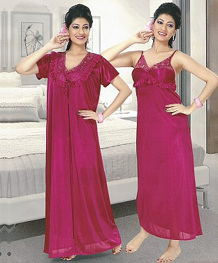 2-Piece Set Of Pink Satin Nightwear@ Rs.1338.00