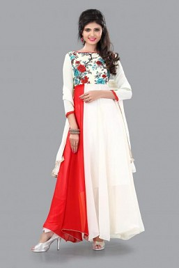 301003-fancy red and white anarkali suit @ Rs988.00