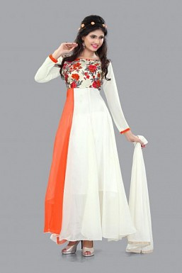 301004-fancy orange and white anarkali suit @ Rs988.00