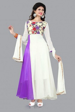 301008-fancy purple and white anarkali suit @ Rs988.00
