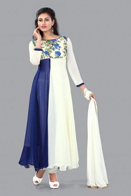 -fancy blue and white anarkali suit @ Rs988.00