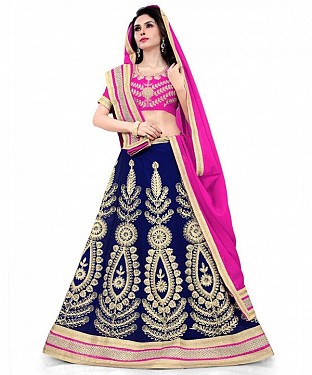 Georgette Embroidered designer Blue Lehenga Choli @ Rs1606.00