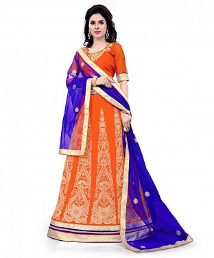 Georgette Embroidered designer Orange Lehenga Choli @ Rs1606.00