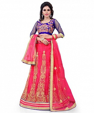Net Embroidered designer Pink Lehenga Choli @ Rs1606.00