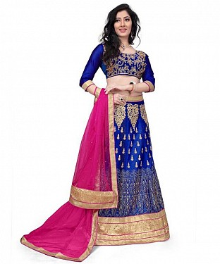Net Embroidered designer Blue Lehenga Choli @ Rs1606.00