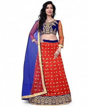 Net Embroidered designer Red Lehenga Choli @ Rs1606.00