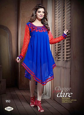Stylish Blue Georgette Kurti @ Rs979.00