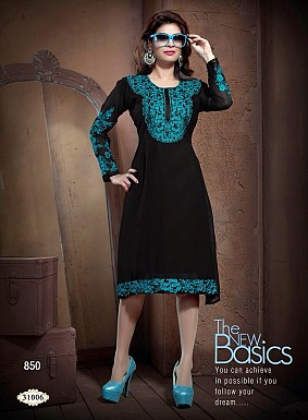 Stylish Black Georgette Kurti @ Rs926.00