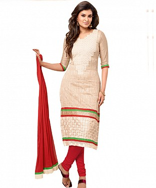 TopFancy Cream Colour Neck Work Salwar Suit @ Rs1050.00