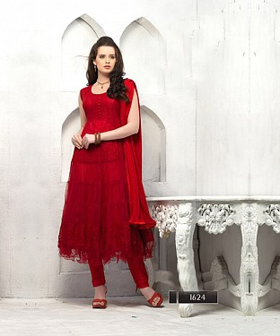 Thankar Fashionable Red Designer Anarkali Suits @ Rs864.00