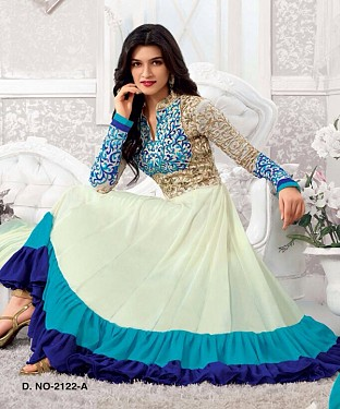 Thankar Kriti Senon New White Designer Anarkali Suits @ Rs1050.00