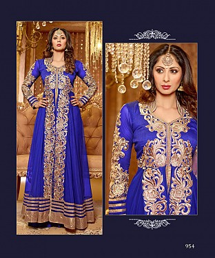 Thankar New Attractive Sangeeta Ghosh Blue Anarkali Suit @ Rs1112.00