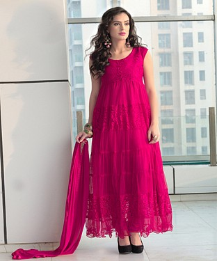 Thankar New Fabulous Designer Brasso Dark Pink Anarkali Suit @ Rs864.00