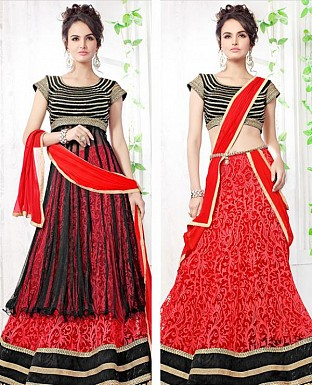 Thankar Latest Ocaasional Red and Black Indo western style lahenga choli @ Rs1853.00