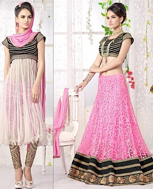 Thankar Latest Ocaasional Pink and White Indo western style lahenga choli @ Rs1853.00