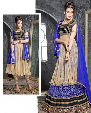 Thankar Latest Ocaasional Royal Blue Indo western style lahenga choli @ Rs1853.00