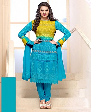 Thankar Latest Designer Heavy Sky Blue Embroidery Straight Suit @ Rs1050.00