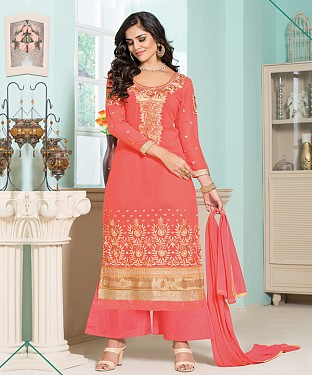 Thankar Latest Designer Heavy Peach Embroidery Straight Suit @ Rs1173.00