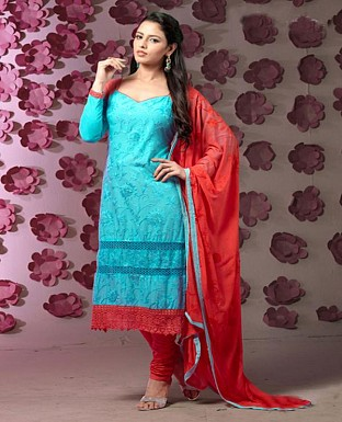 Thankar Latest Designer Heavy Sky and Red Embroidery Straight Suit @ Rs1421.00