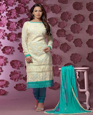Thankar Latest Designer Heavy Cream and Sky Embroidery Straight Suit @ Rs1421.00
