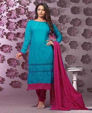 Thankar Latest Designer Heavy Blue and Dark Pink Embroidery Straight Suit @ Rs1421.00