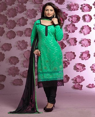Thankar Latest Designer Heavy Green and Black Embroidery Straight Suit @ Rs1421.00