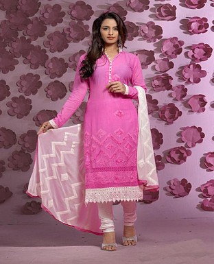 Thankar Latest Designer Heavy Pink and Off White Embroidery Straight Suit @ Rs1421.00