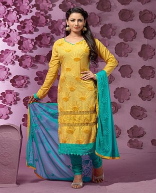 Thankar Latest Designer Heavy Yellow and Aqua Embroidery Straight Suit @ Rs1421.00