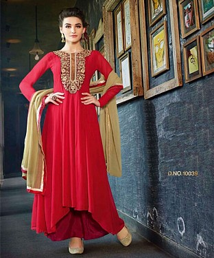 Thankar New Western Style Designer Red Embroidery Anarkali Suit @ Rs2286.00