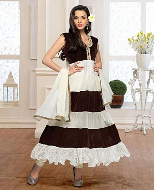 Thankar Fabulous Latest Designer White & Brown Anarkali Suits @ Rs1359.00