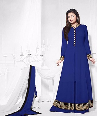 THANKAR ATTRACTIVE LATEST DESIGNER DARK BLUE ANARKALI SUITS @ Rs1235.00