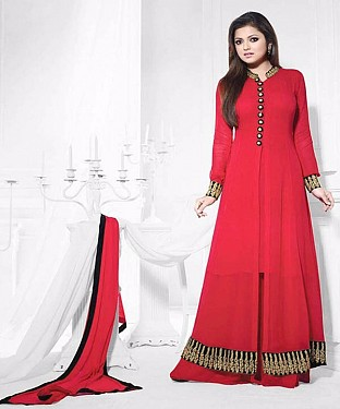 THANKAR ATTRACTIVE LATEST DESIGNER DARK RED ANARKALI SUITS @ Rs1482.00