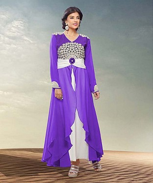 THANKAR HEAVY FLOOR LENGTH BLUE AND WHITE ANARKALI SUIT @ Rs1977.00