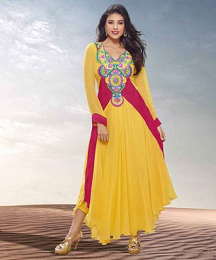 THANKAR HEAVY FLOOR LENGTH YELLOW ANARKALI SUIT @ Rs1977.00