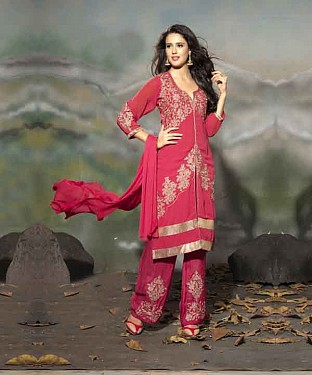 THANKAR LATEST EMBROIDERED DESIGNER PEACH STRAIGHT SUIT @ Rs1730.00