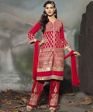 THANKAR LATEST EMBROIDERED DESIGNER RED STRAIGHT SUIT @ Rs1977.00