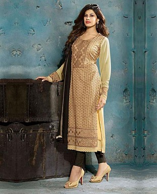 THANKAR LATEST EMBROIDERED DESIGNER CREAM STRAIGHT SUITS @ Rs2409.00