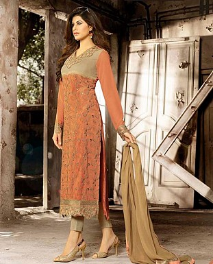 THANKAR LATEST EMBROIDERED DESIGNER CARROT ORANGE STRAIGHT SUITS @ Rs2409.00