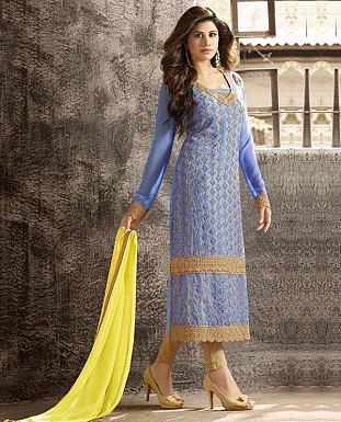 THANKAR LATEST EMBROIDERED DESIGNER LAVENDER STRAIGHT SUITS @ Rs2409.00