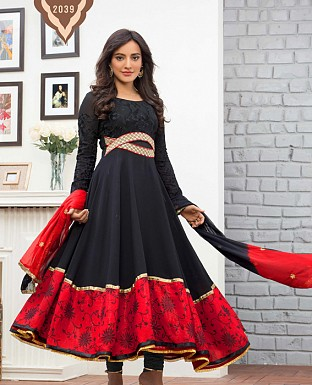 Black partywear floor touch anarkali suit @ Rs1482.00