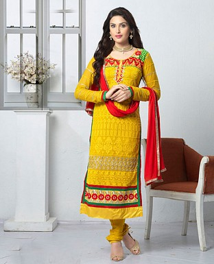 THANKAR LATEST EMBROIDERED DESIGNER YELLOW STRAIGHT SUIT @ Rs1668.00