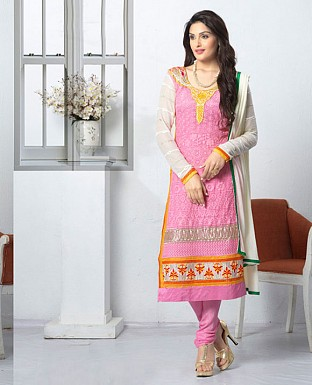THANKAR LATEST EMBROIDERED DESIGNER PINK STRAIGHT SUIT @ Rs1668.00