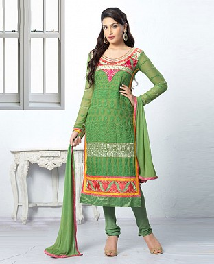 THANKAR LATEST EMBROIDERED DESIGNER GREEN STRAIGHT SUIT @ Rs1668.00