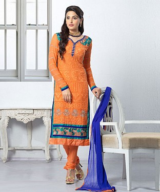 THANKAR LATEST EMBROIDERED DESIGNER ORANGE STRAIGHT SUIT @ Rs1668.00