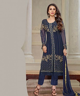 THANKAR NEW DESIGNER NAVY BLUE STRAIGHT PLAZO SUIT @ Rs2409.00
