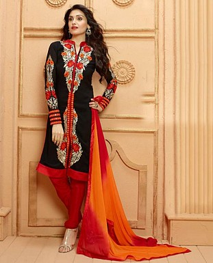 THANKAR NEW DESIGNER BLACK AND RED STRAIGHT SUIT @ Rs1853.00