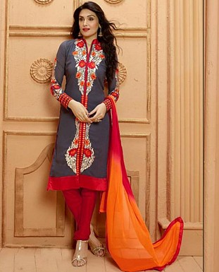 THANKAR NEW DESIGNER GREY AND RED STRAIGHT SUIT @ Rs1853.00